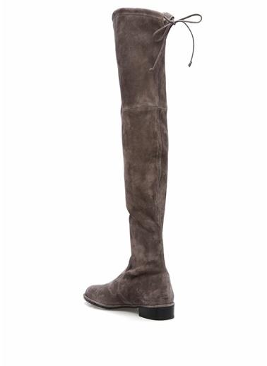 Stuart Weitzman Deri Uzun Süet Çizme Gri